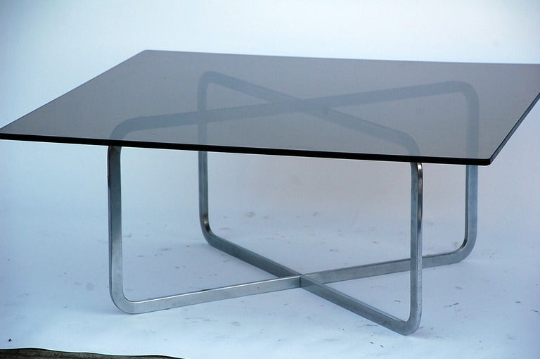Brushed Steel And Smoked Glass Coffee Table In The Style Of Michel Boyer 3
