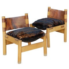 Pair of French Rustic Oak and Leather Low Chairs