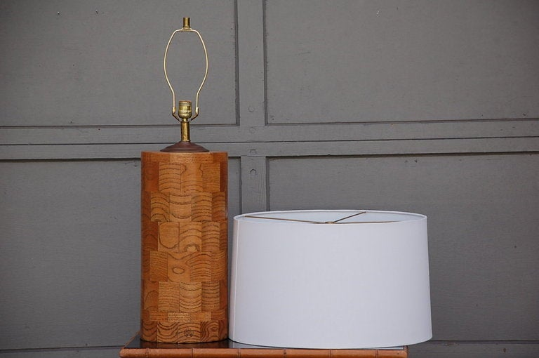 American Large oak patchwork table lamp by Amter Craft For Sale