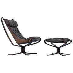 Classic Rosewood & Leather Chair and Ottoman by Sigurd Resell