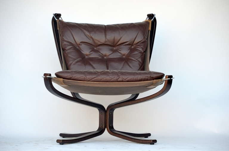 Norwegian Small Rosewood and Leather Chair by Sigurd Resell