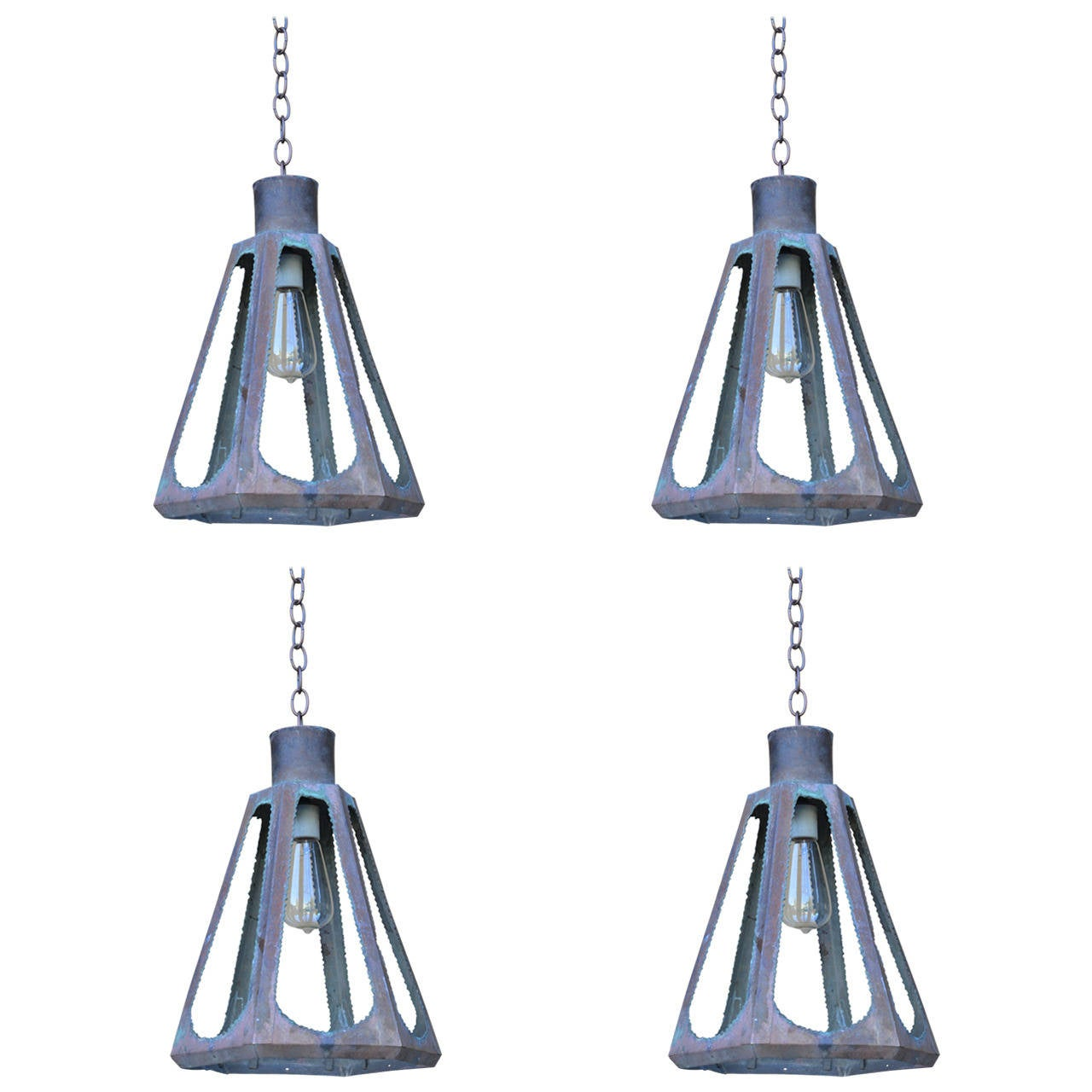 Set of Four Unusual Patinated Copper Brutalist Lanterns