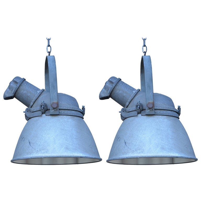 Pair of Large Cast Iron, Aluminum and Glass Industrial Hanging Lights For Sale