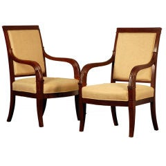 Pair of Chic French Empire Style Mahogany Armchairs