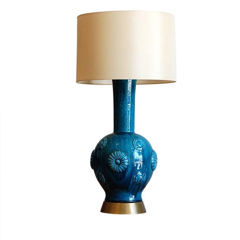 Large Blue Lamp Shade: Large Asian Inspired Blue Ceramic Lamp With Custom Shade