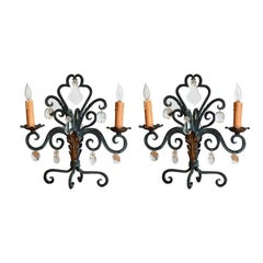 Pair of Chic French 1940s Candelabra Lights