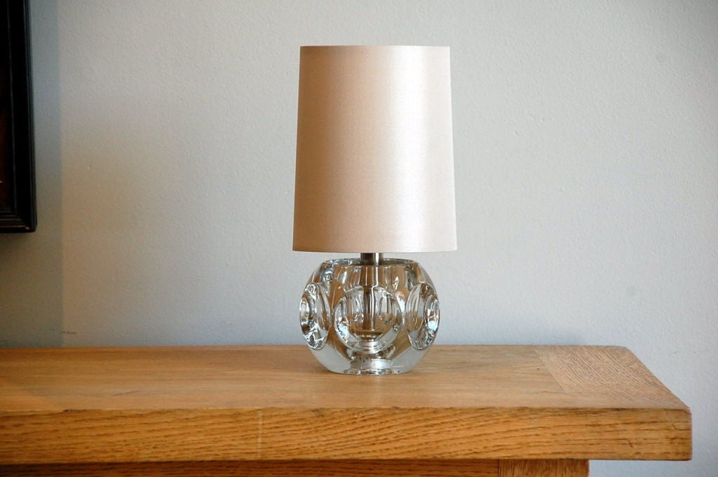 Small Faceted Crystal Lamp With Custom Cream Silk Shade At