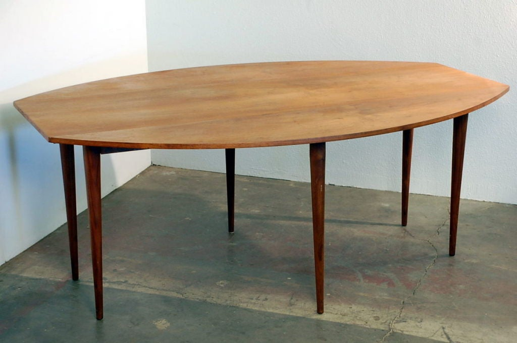 Oval drop-leaf dining table by Edward Wormley for Dunbar at 1stdibs