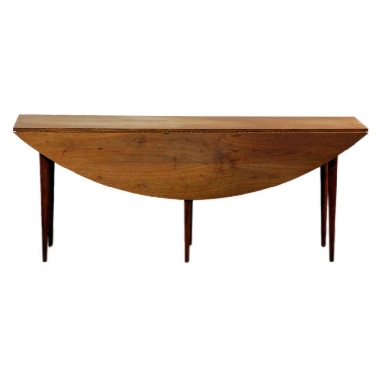 Oval drop leaf dining table by edward wormley for dunbar for Dining room table replacement leaf