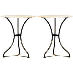 Pair of Classic Polished Steel and Marble French Cafe Tables