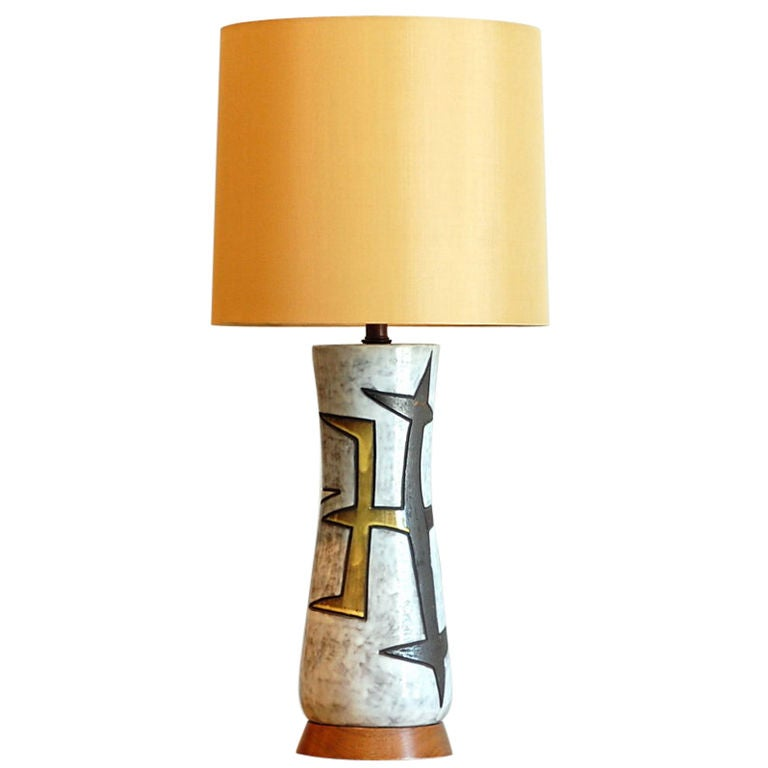 large ceramic table lamp with custom drum shade at 1stdibs. Black Bedroom Furniture Sets. Home Design Ideas