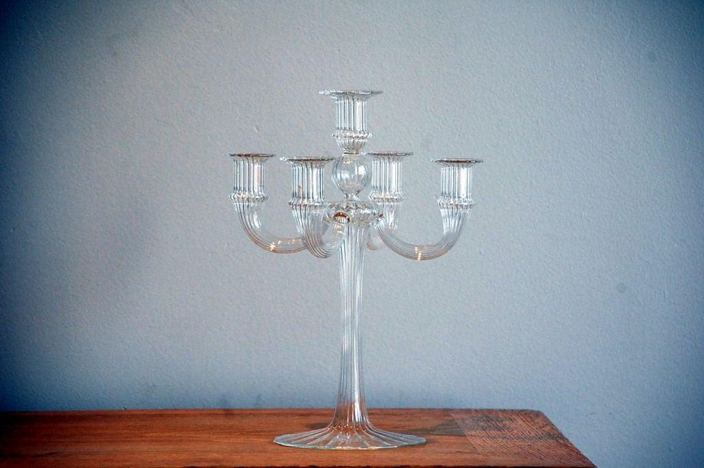 Ribbed Murano Glass Candelabra At 1stdibs