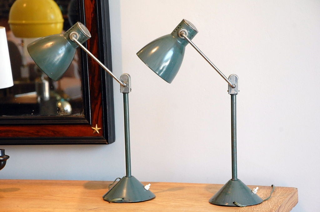 pair of french industrial articulated night stand lamps at. Black Bedroom Furniture Sets. Home Design Ideas