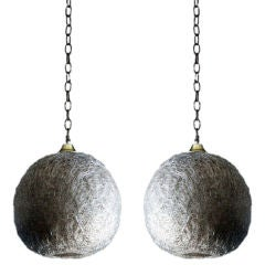 Pair of white glass thread globe hanging lights