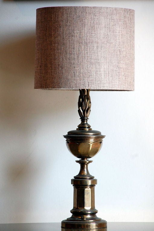 Pair of tall patinated brass neoclassical lamps with new custom linen shades.