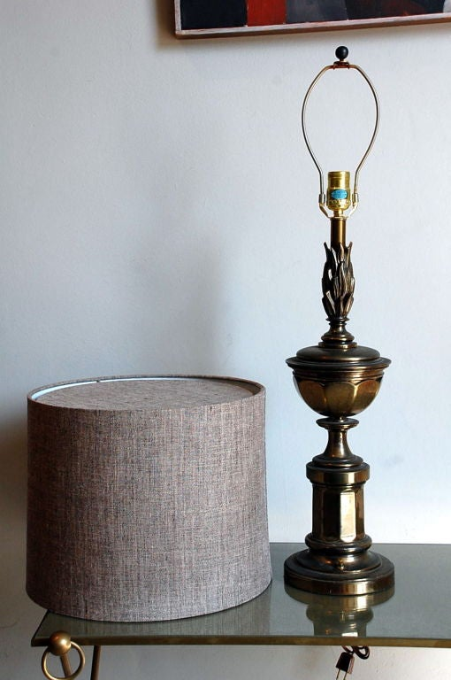 Hollywood Regency Pair of Tall Patinated Brass Neoclassical Lamps with Custom Linen Shades For Sale