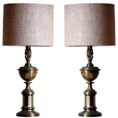 Pair of Tall Patinated Brass Neoclassical Lamps with Custom Linen Shades
