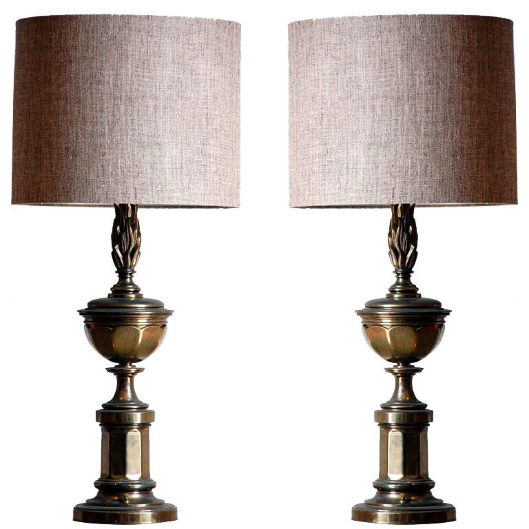 Pair of Tall Patinated Brass Neoclassical Lamps with Custom Linen Shades For Sale