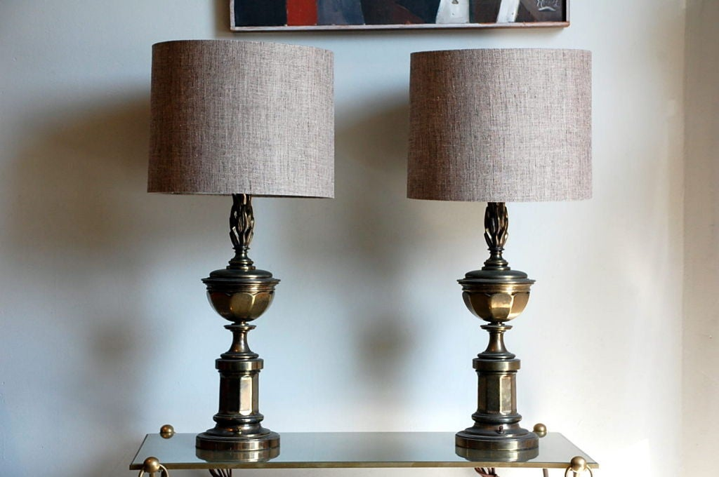 Pair of Tall Patinated Brass Neoclassical Lamps with Custom Linen Shades For Sale 1