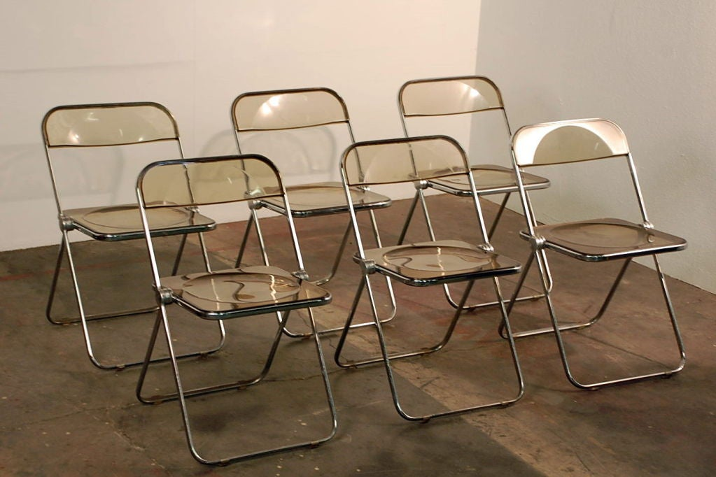 French Set of Five Plia Chairs by Giancarlo Piretti for Castelli For Sale