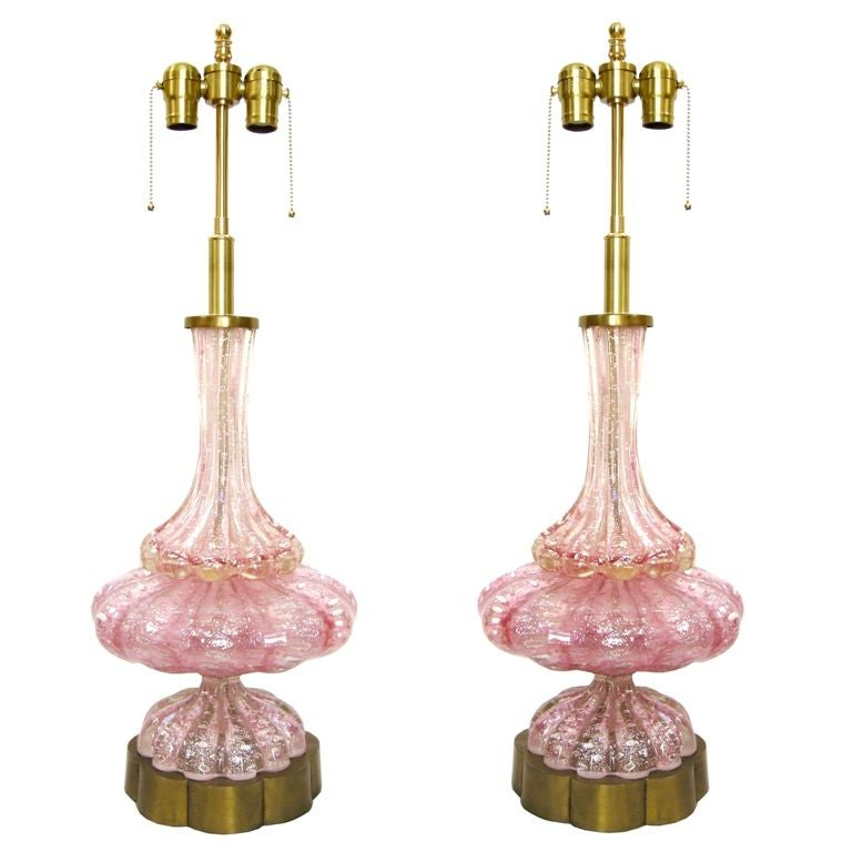 Pair Italian Murano Pink Glass & Brass Lamps.  Note: Shades shown for display only, not included.
