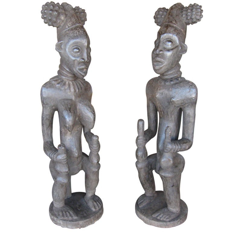 Decorative Large Impressive Hand Carved African Statues from Cameroon 1