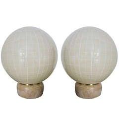 Stylized Pair of Venini Globe Lamps