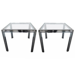 Chic Pair of Chrome and Brass-Plated Side Tables