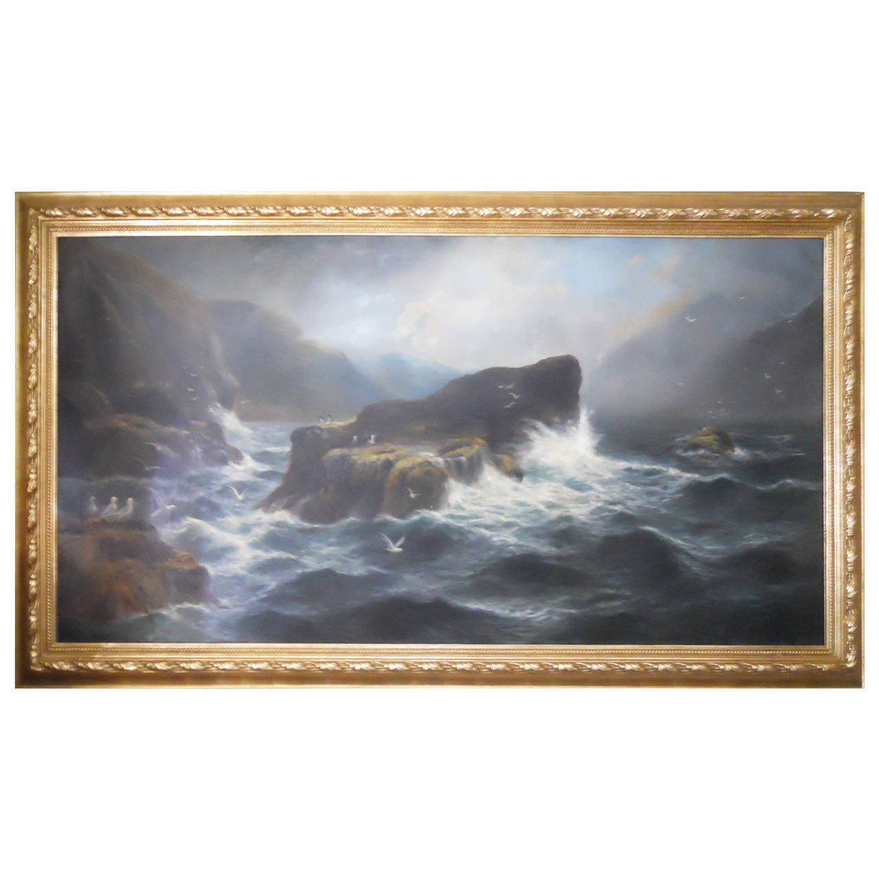 English country garden paintings - Astonishing Daniel Sherrin 19th Century Oil Painting Of A Seascape