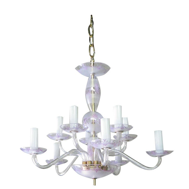 engraved and colored glass chandelier at 1stdibs
