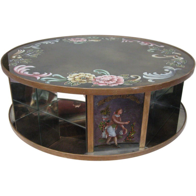 Round Mirrored Rotating Coffee Table At 1stdibs