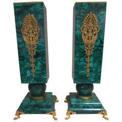 Enticing Pair of Malachite Vases