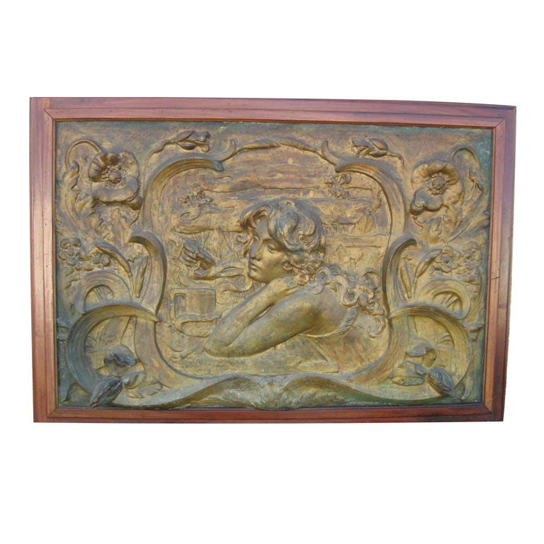 Art Nouveau Plaster Wall Placque at 1stdibs