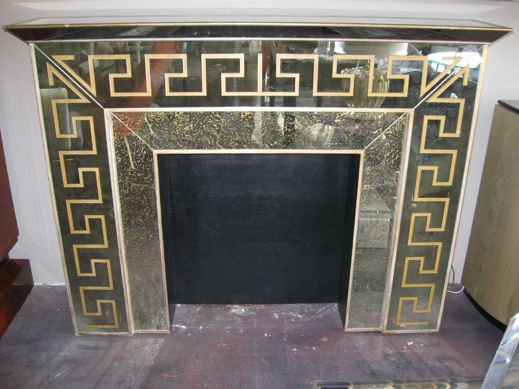hollywood regency mirrored greek key fireplace mantle at 1stdibs