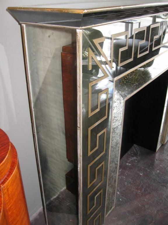 Hollywood Regency Mirrored Greek Key Fireplace Mantle at ...