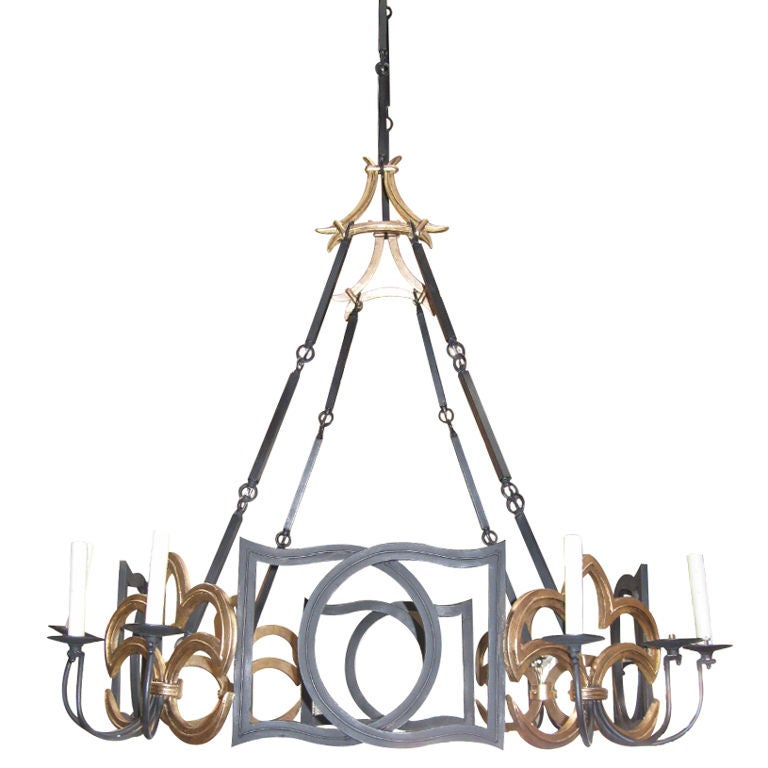 Large Wrought Iron Chandelier At 1stdibs