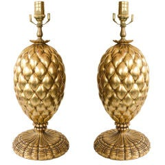 Pair of Gold Leafed Pineapple Lamps by Bryan Cox