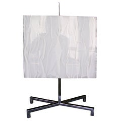 Chrome and White Crinkled Lucite Table Lamp