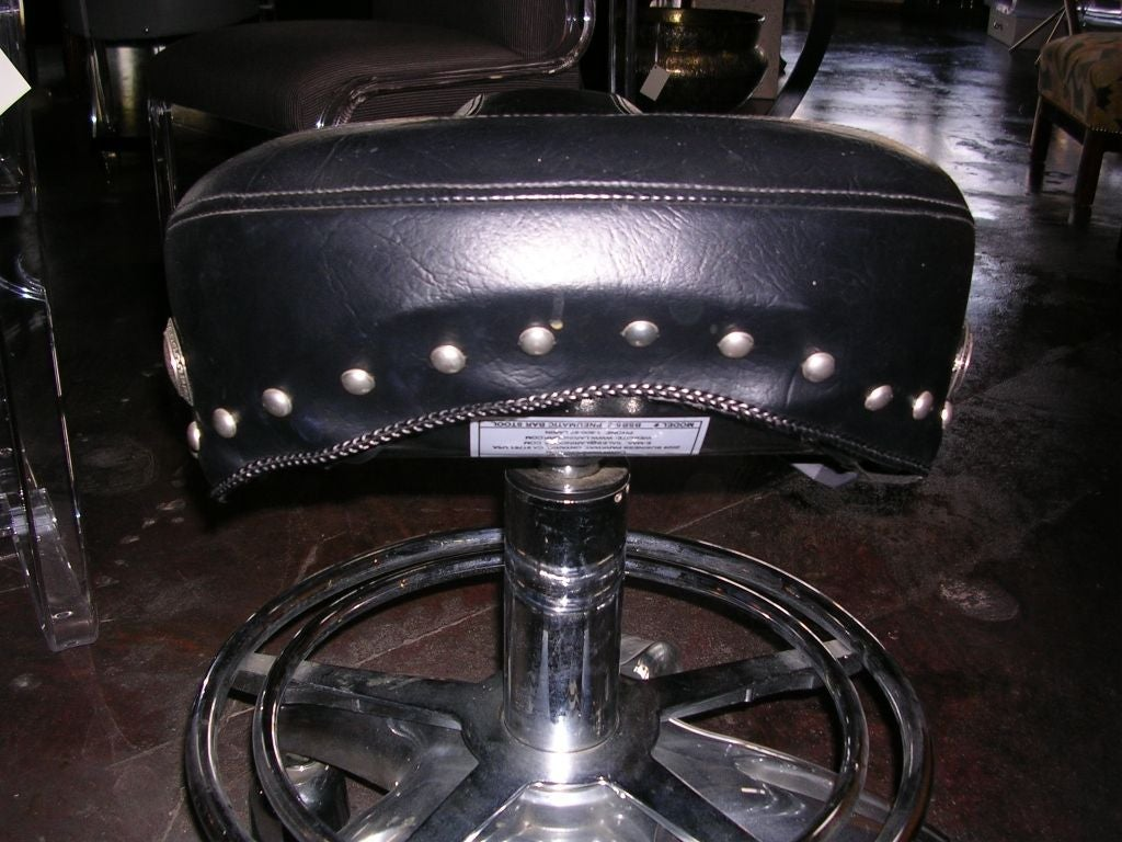 Pair Of Motorcycle Saddle Seat Adjustable Barstools At 1stdibs