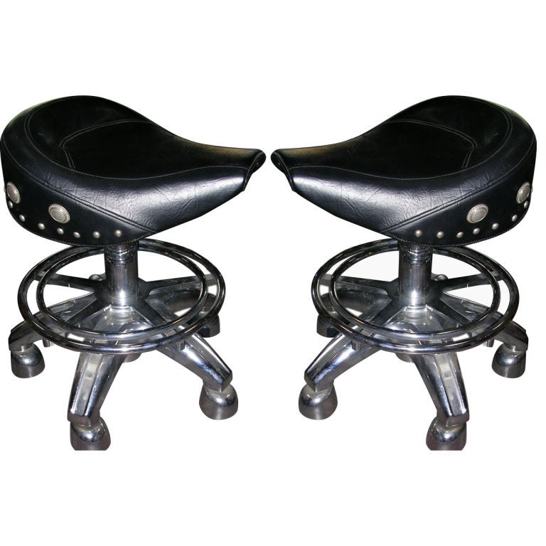 Leather X Base Stool