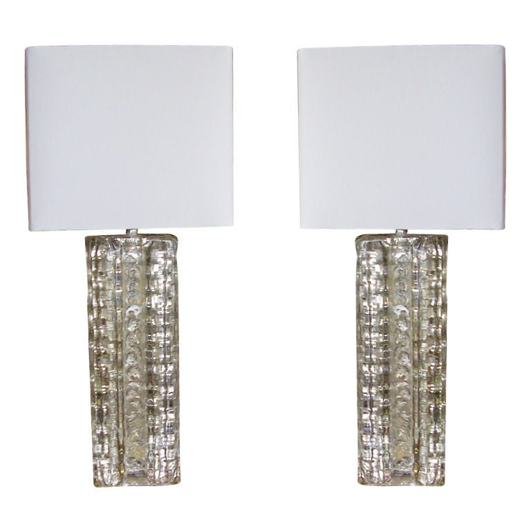 Small Pair Of Italian Glass Block Table Lamps At 1stdibs