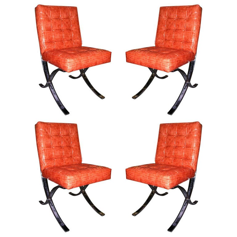 Set Of 4 Vintage Italian Mini Barcelona Chairs For Sale At 1stdibs