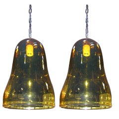 Pair of Hand Blown Amber Glass Pendants
