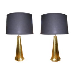 Pair of Gold Leaf St Louis Lamps by Bryan Cox
