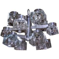 Sciolari Chrome and Ice Cube 12 Light Chandelier
