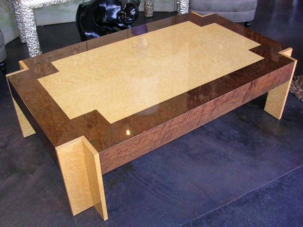 Birdseye Maple Modernist Coffee Table For Sale