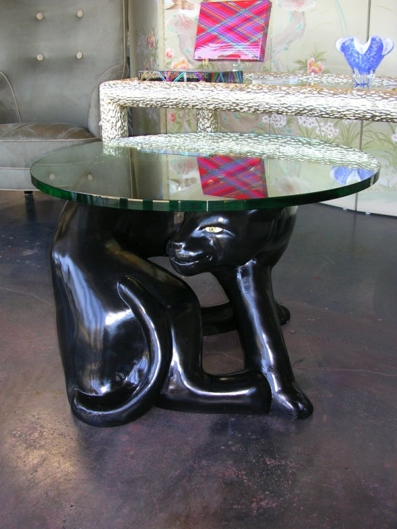 Unique Vintage Panther Side Table At 1stdibs