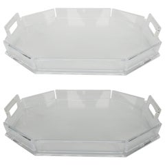 Classy Pair of Clear Lucite Trays