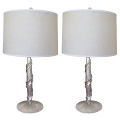 Pair of 22k White Gold Ankor Lamps by Bryan Cox