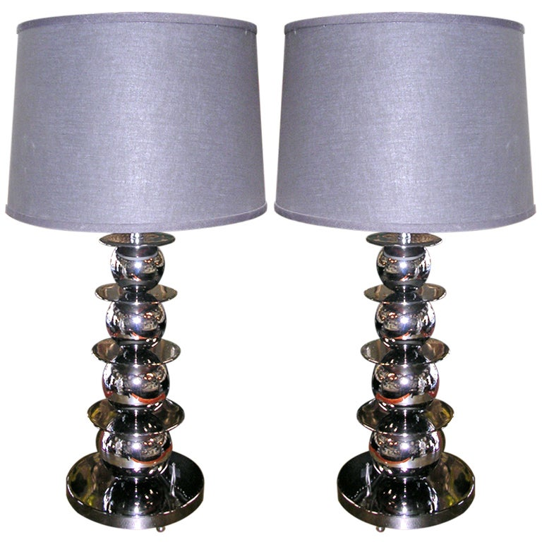 Pair of Vintage Smoky Chrome Ball Lamps